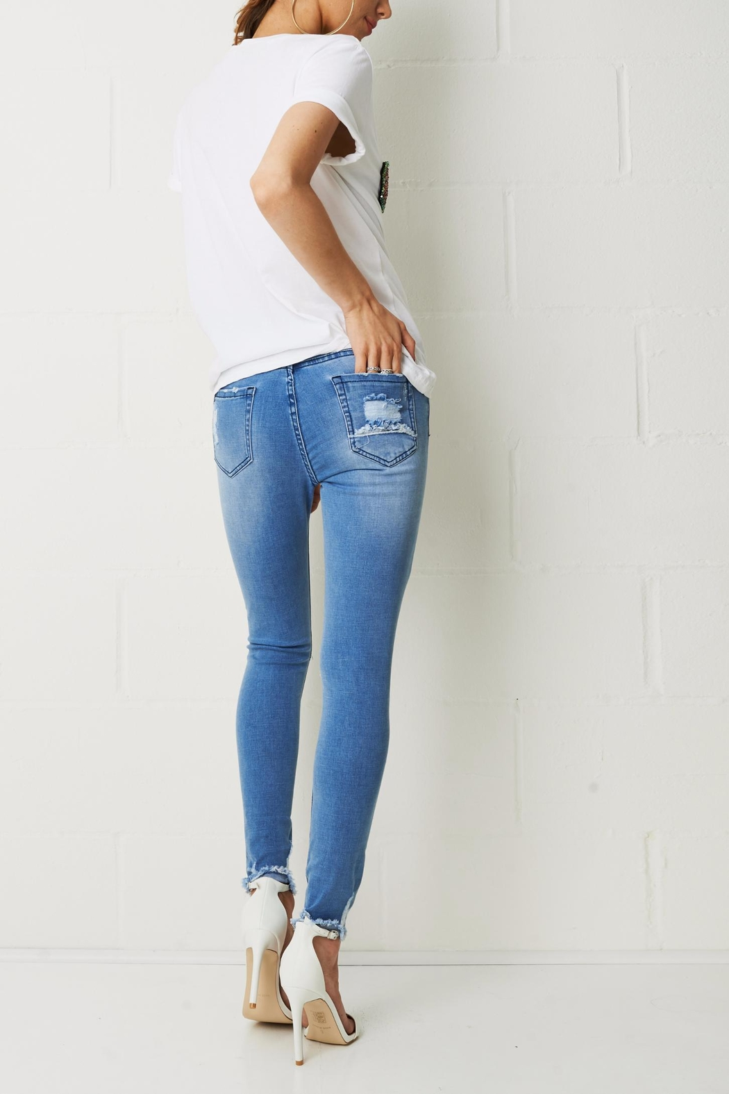 frontrow Knee Rip Jeans - Side Cropped Image