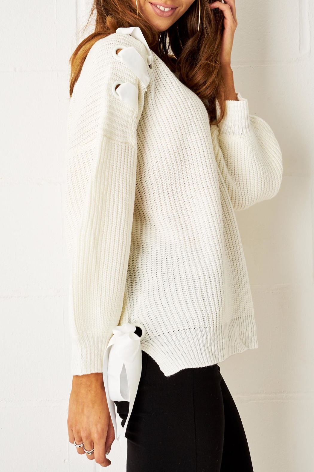 frontrow Lace Up Sweater - Front Full Image