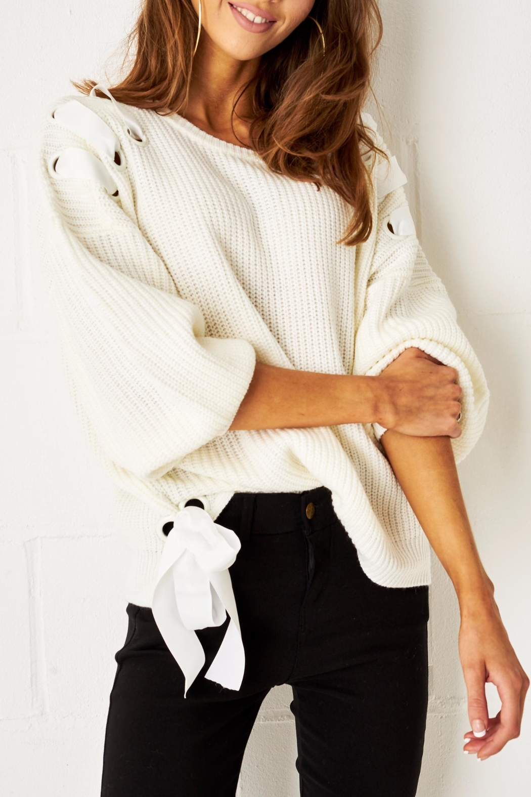 frontrow Lace Up Sweater - Main Image