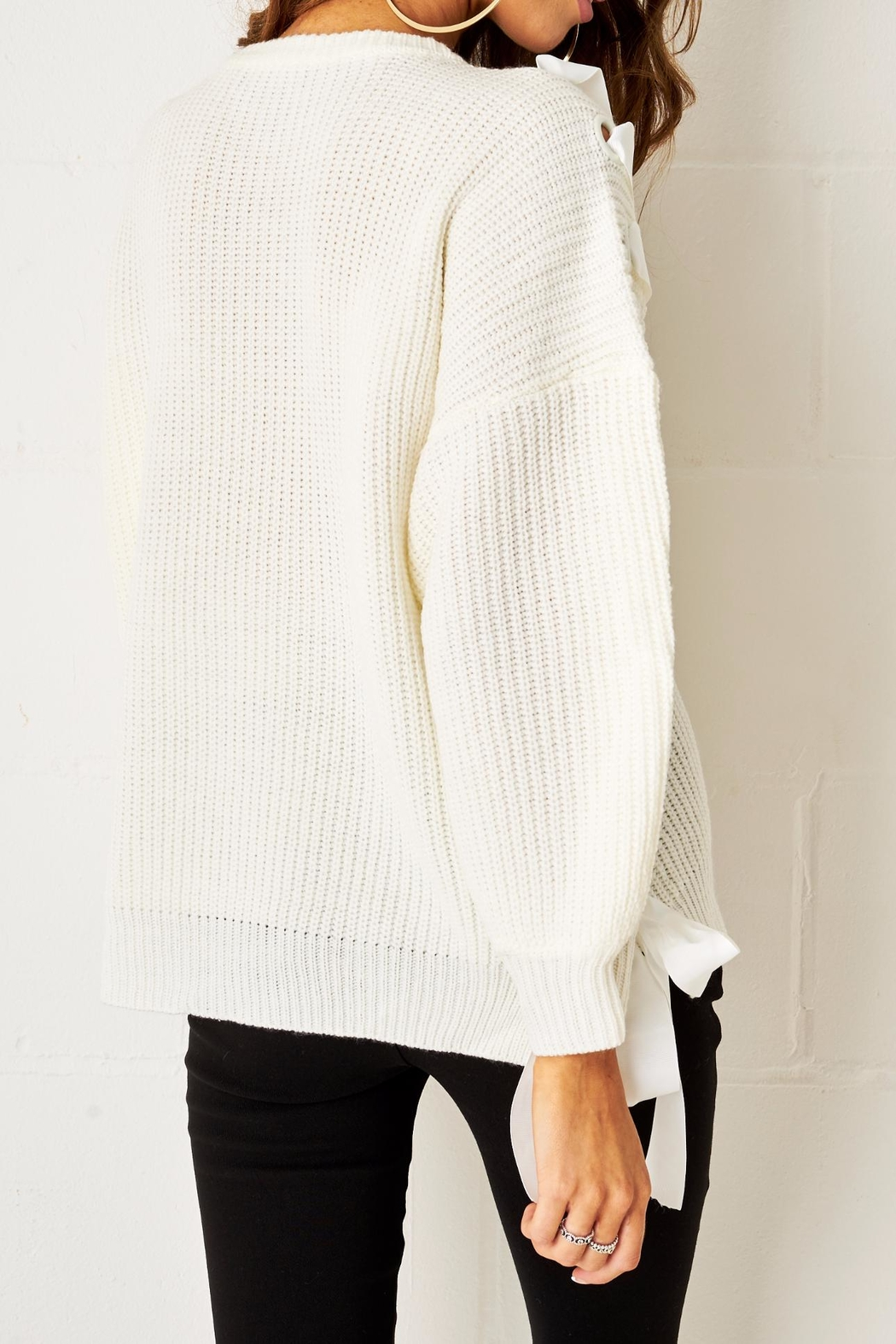 frontrow Lace Up Sweater - Side Cropped Image