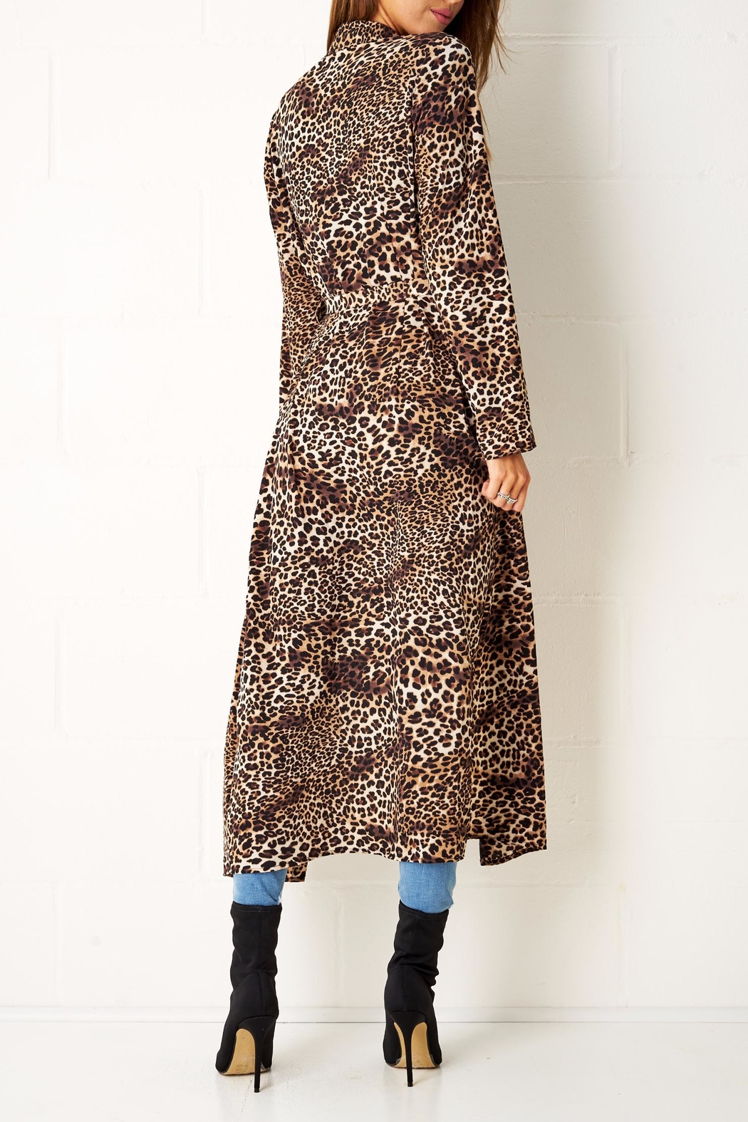 frontrow Leopard Print Coat - Side Cropped Image