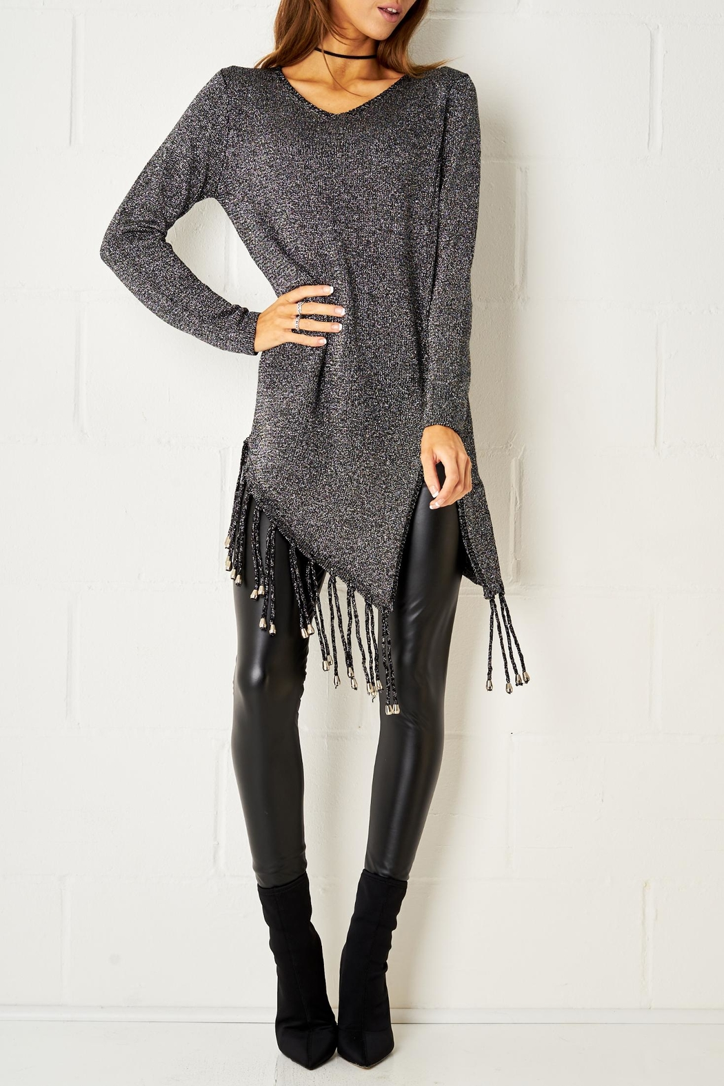 frontrow Metallic Fringe Jumper - Front Cropped Image