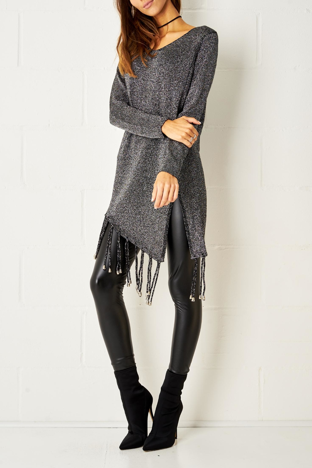 frontrow Metallic Fringe Jumper - Front Full Image