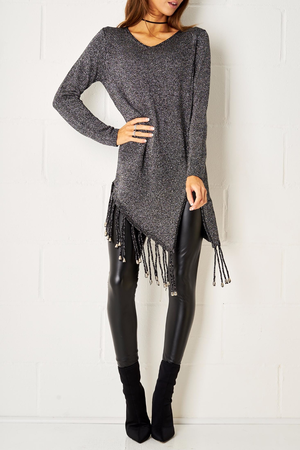 frontrow Metallic Fringe Sweater - Front Cropped Image