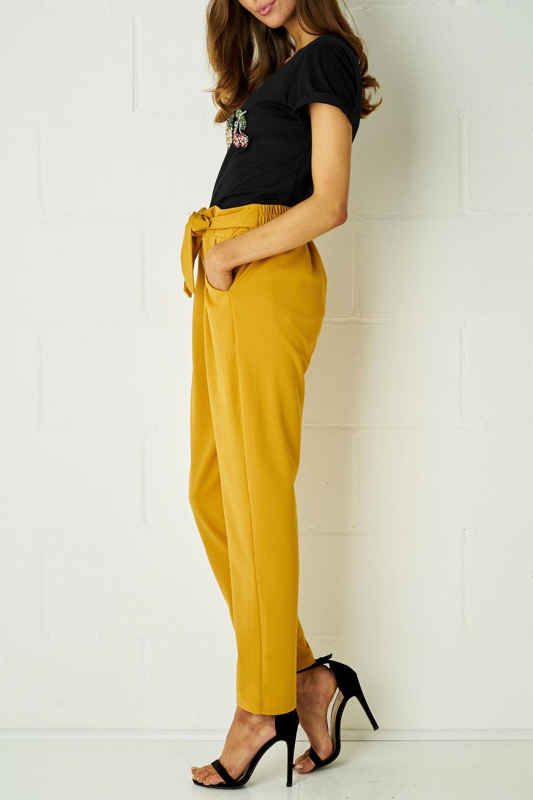 frontrow Mustard Paperbag Trousers - Front Cropped Image