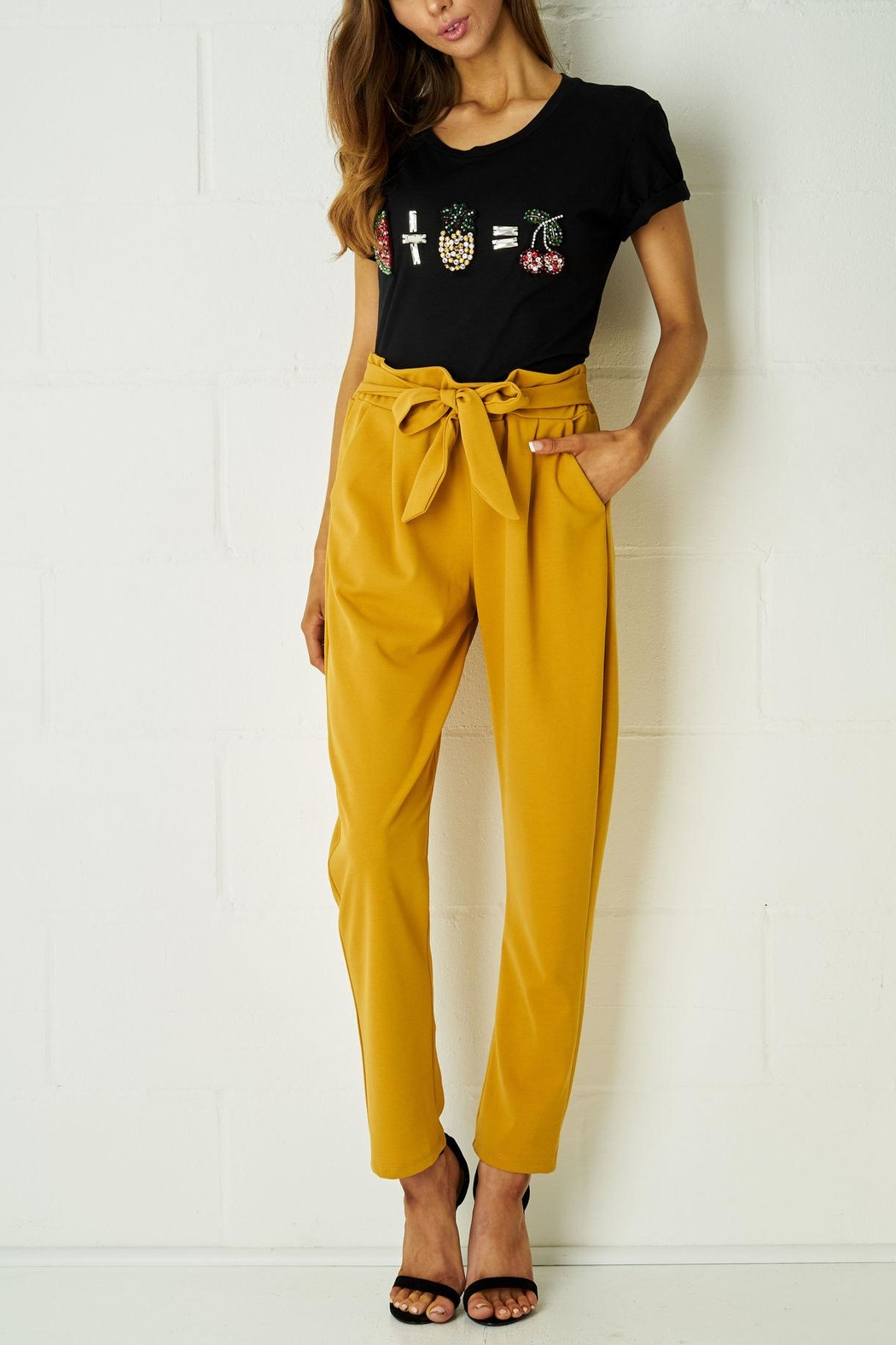 frontrow Mustard Paperbag Trousers - Main Image