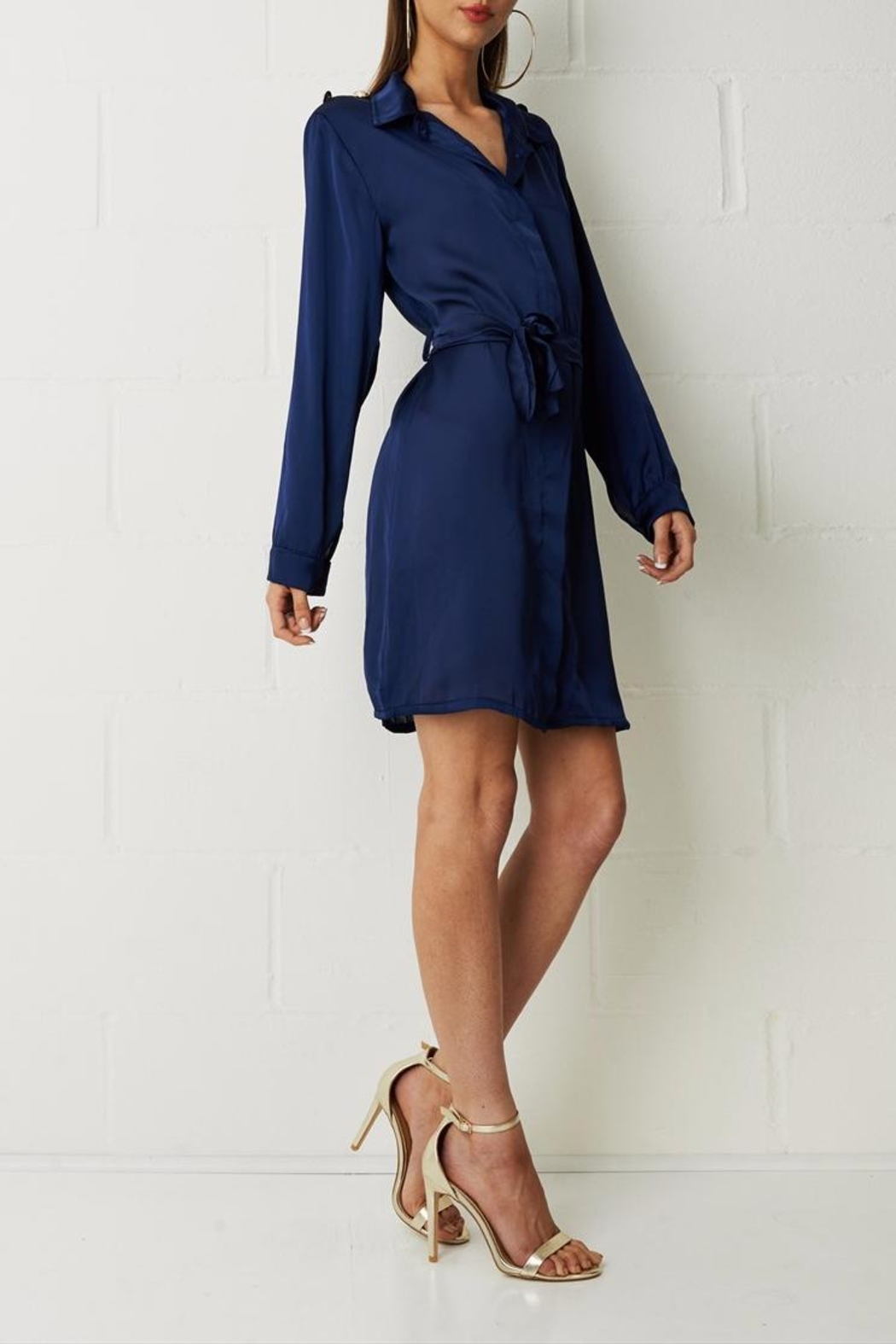 frontrow Navy Shirt Dress - Side Cropped Image