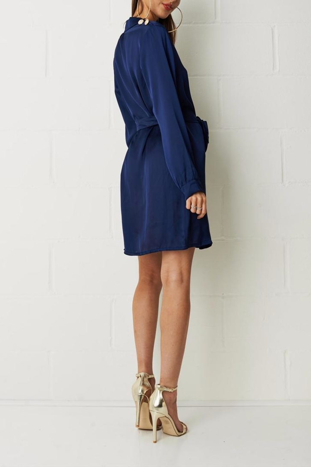 frontrow Navy Shirt Dress - Front Full Image