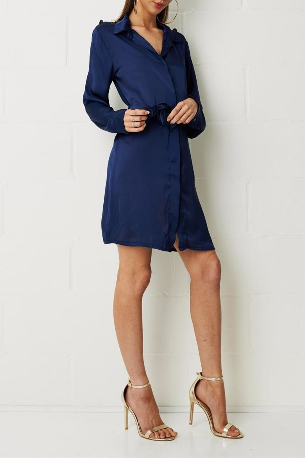 frontrow Navy Shirt Dress - Front Cropped Image
