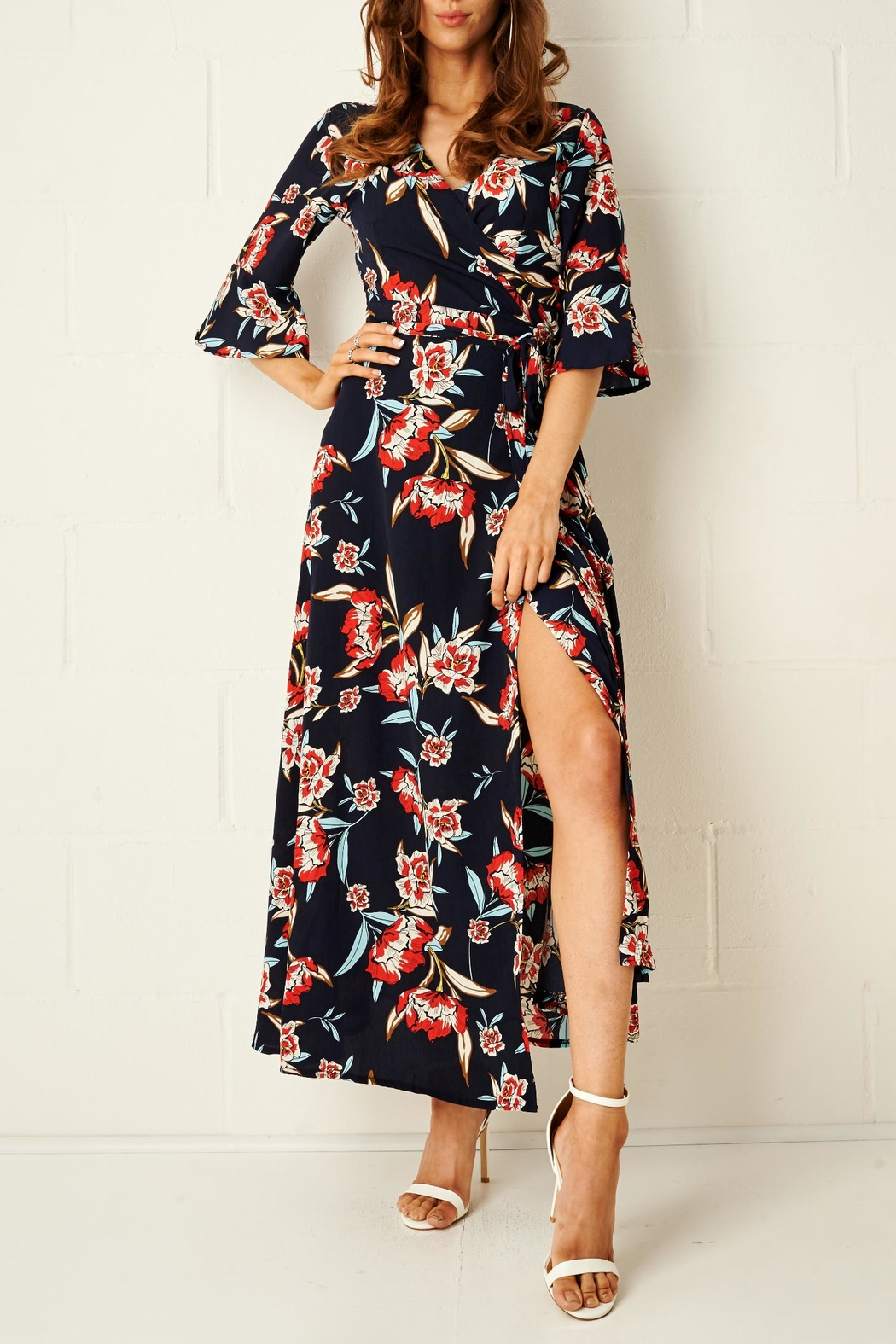 frontrow Navy Wrap Dress - Front Full Image