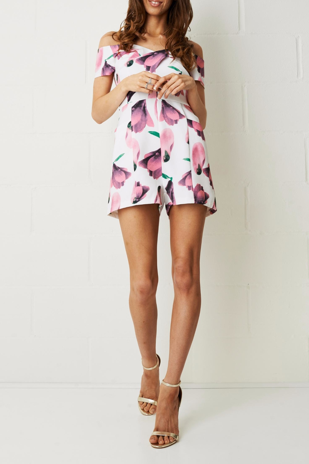 frontrow Pink Floral Playsuit - Front Full Image
