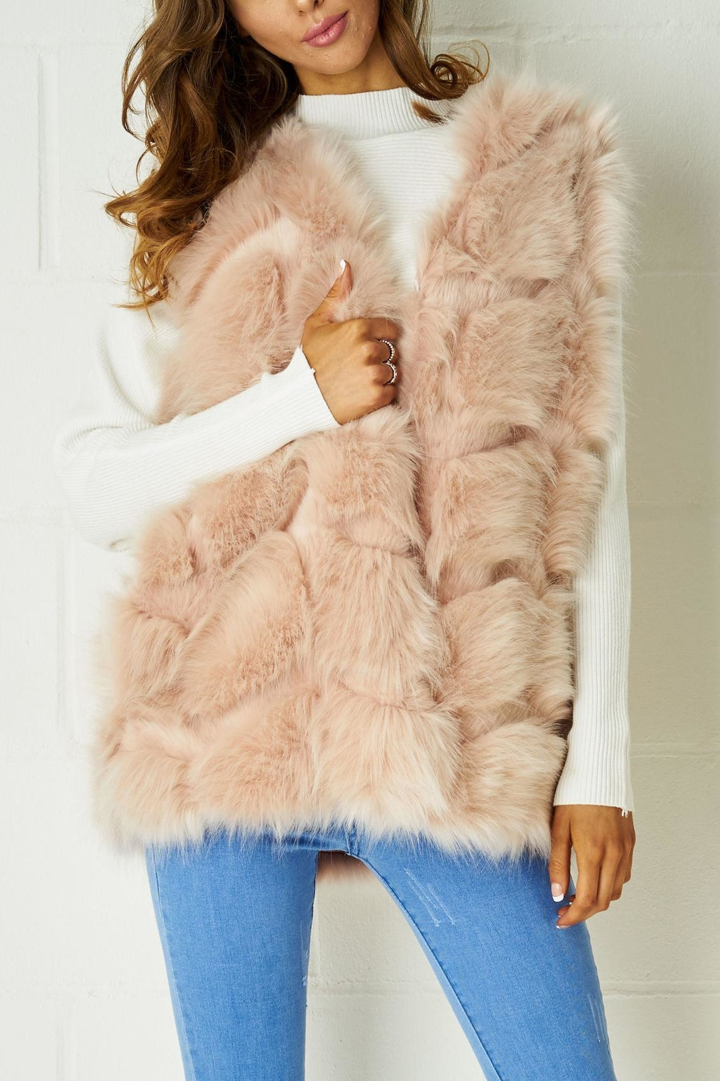 frontrow Pink Fur Gilet - Front Cropped Image