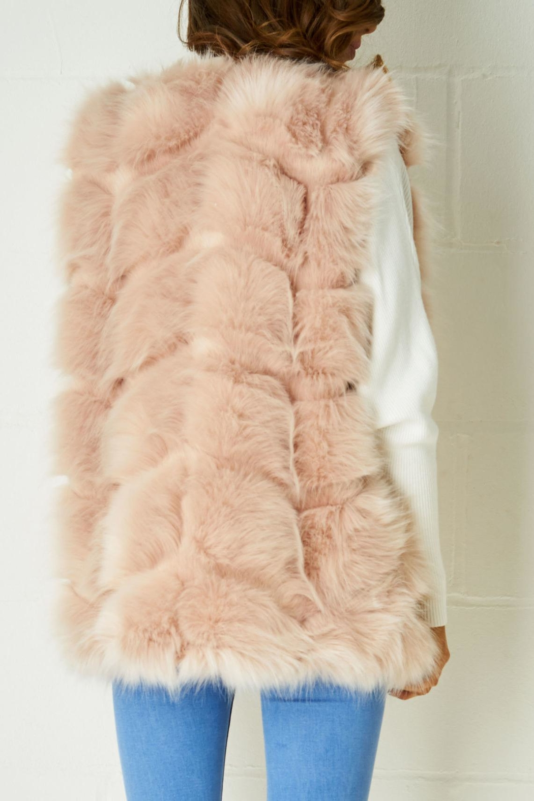 frontrow Pink Fur Gilet - Front Full Image