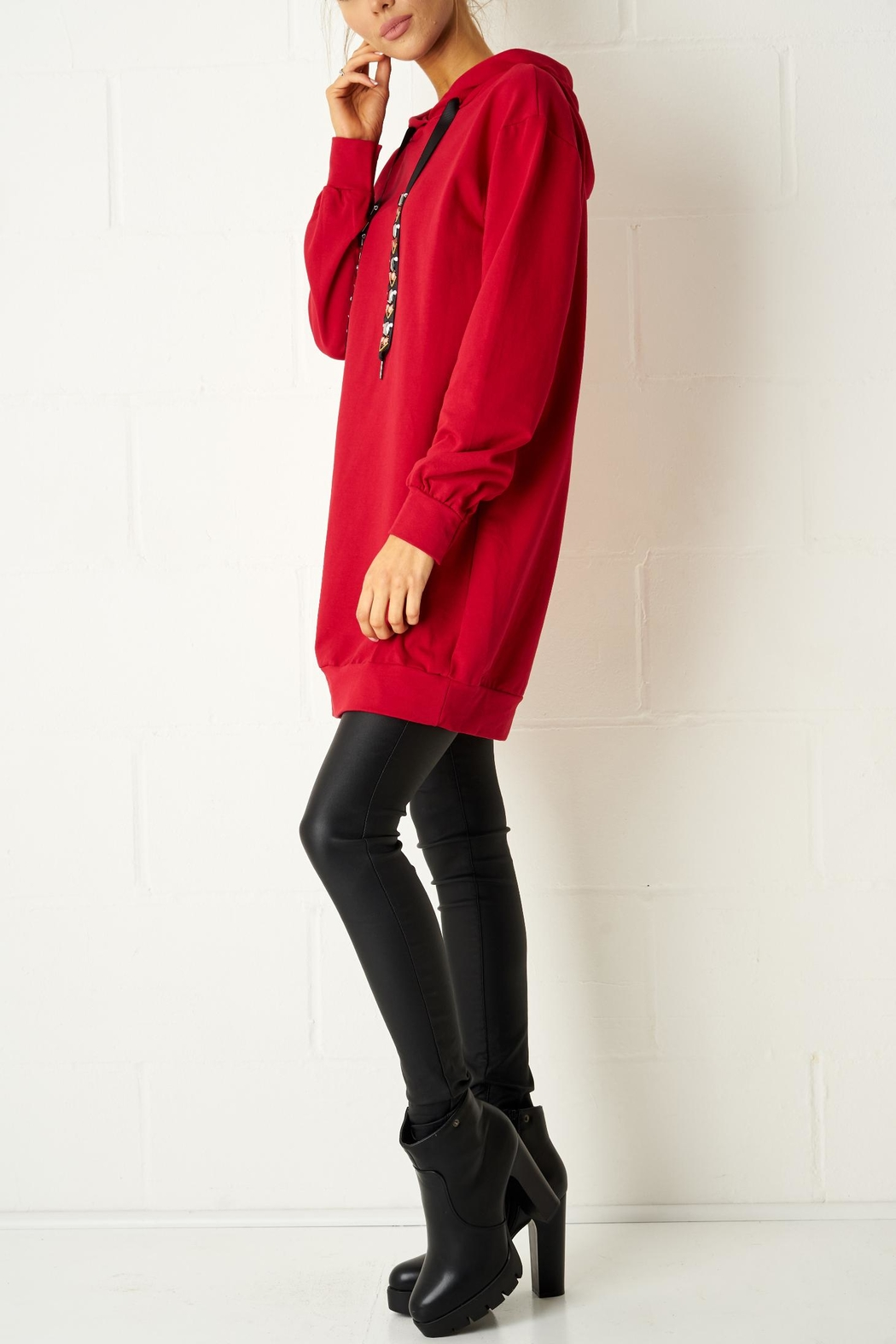 frontrow Red Oversized Top - Front Full Image