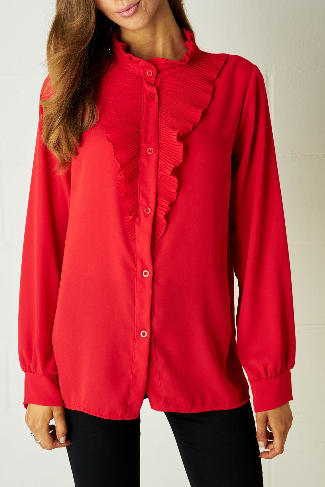 48708f614de5d2 frontrow Red Ruffle Blouse from Essex by Frontrow — Shoptiques