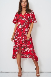 frontrow Red Wrap Dress - Front full body