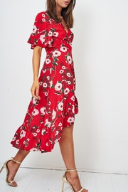 frontrow Red Wrap Dress - Side cropped