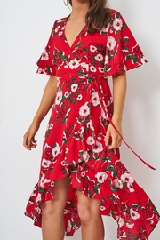 frontrow Red Wrap Dress - Back cropped