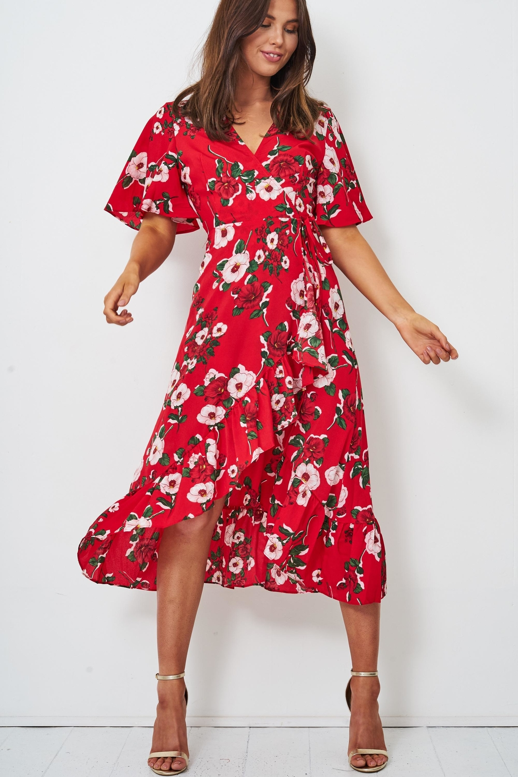 frontrow Red Wrap Dress - Main Image
