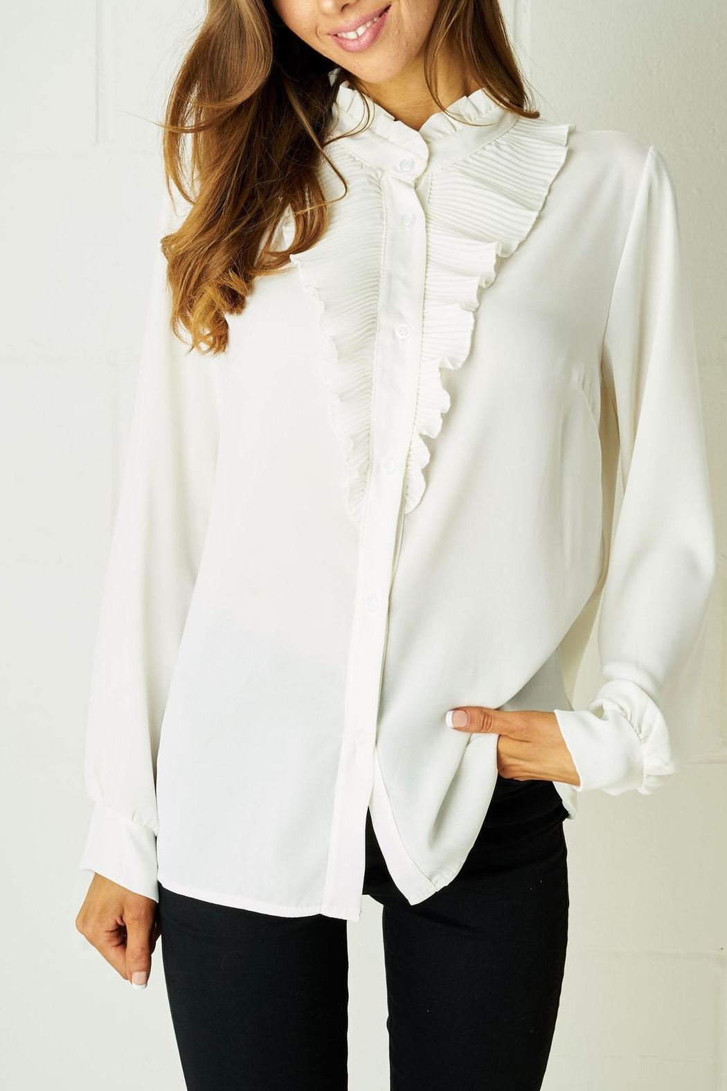 frontrow Ruffle Blouse White - Main Image