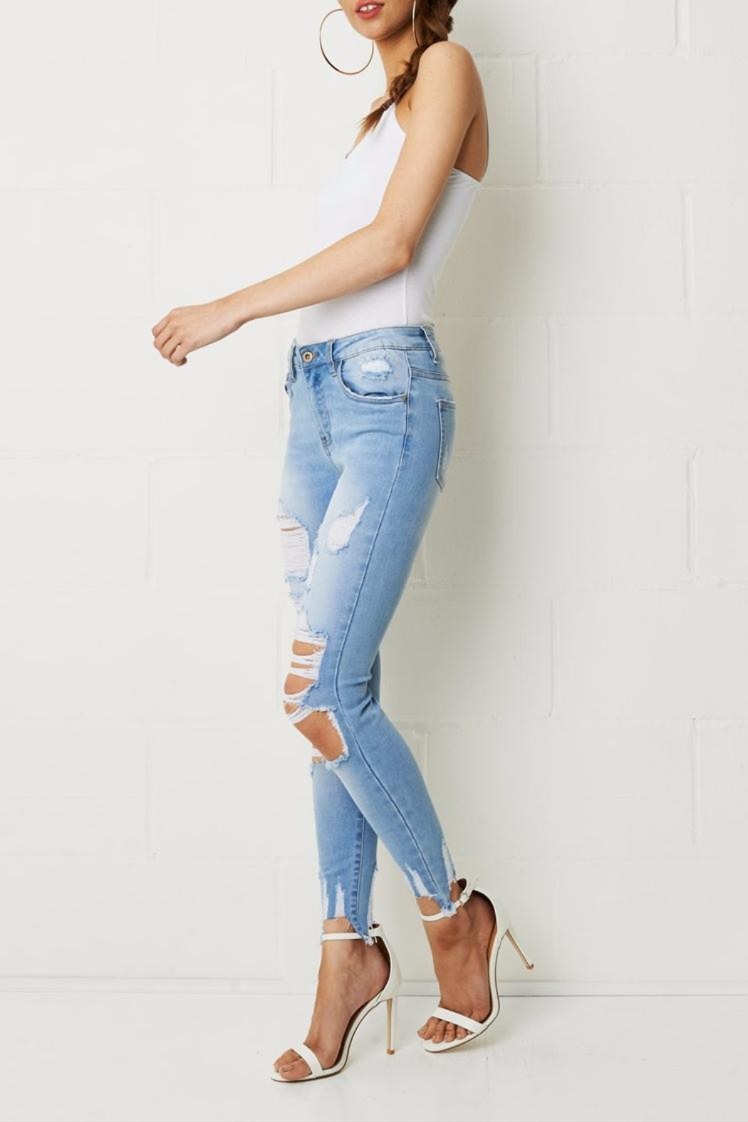 frontrow Skinny Ripped Jeans - Front Full Image