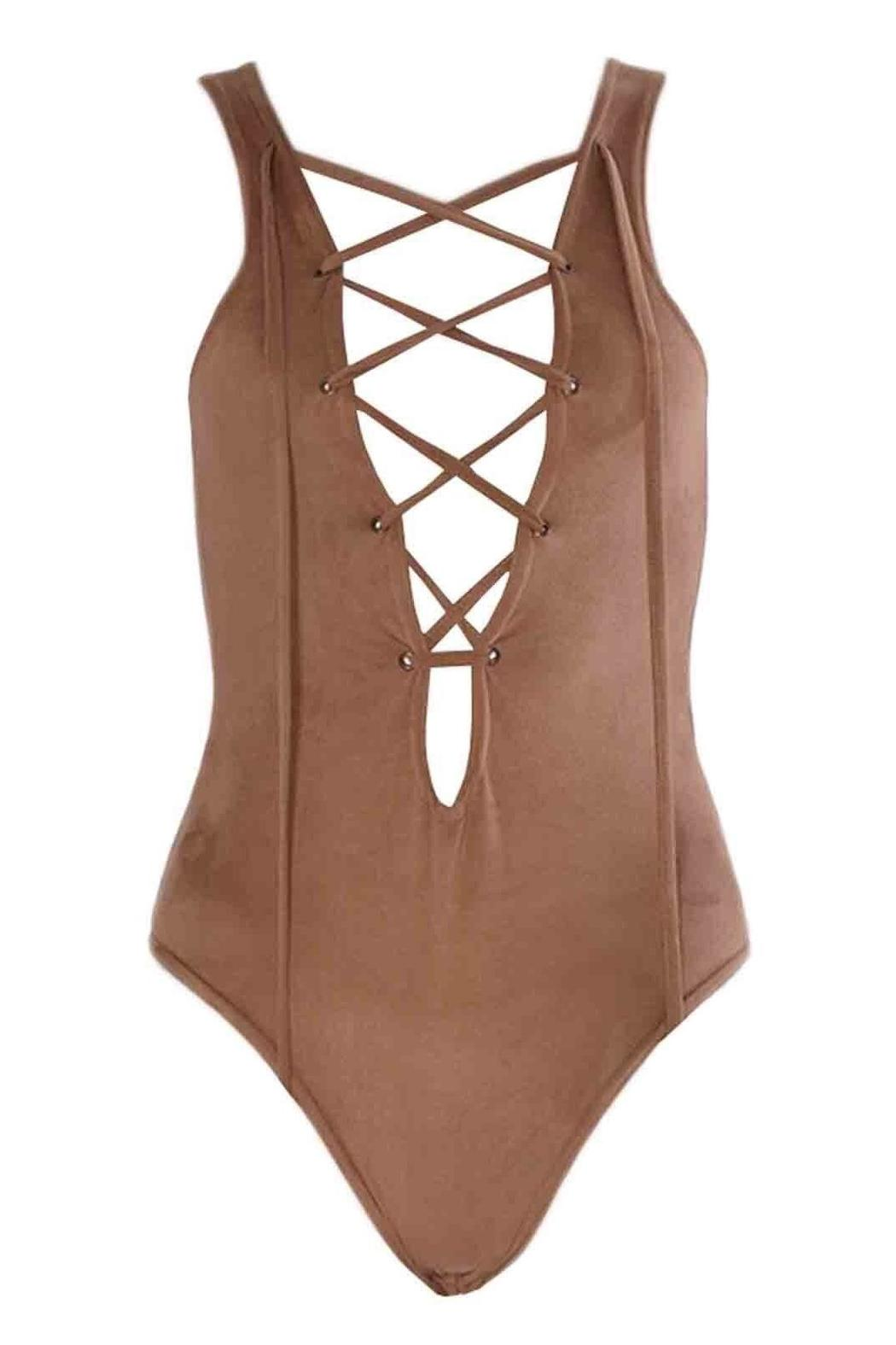 frontrow Suede Lace-Up Bodysuit - Front Cropped Image