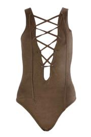 frontrow Suede Lace-Up Bodysuit - Front cropped