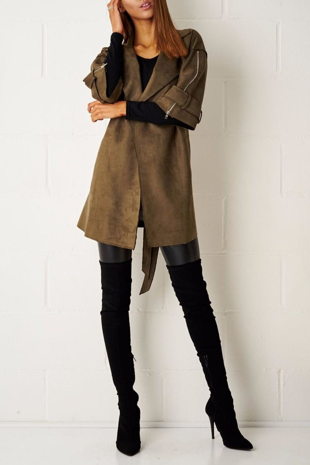 frontrow Suede Waterfall Coat - Main Image