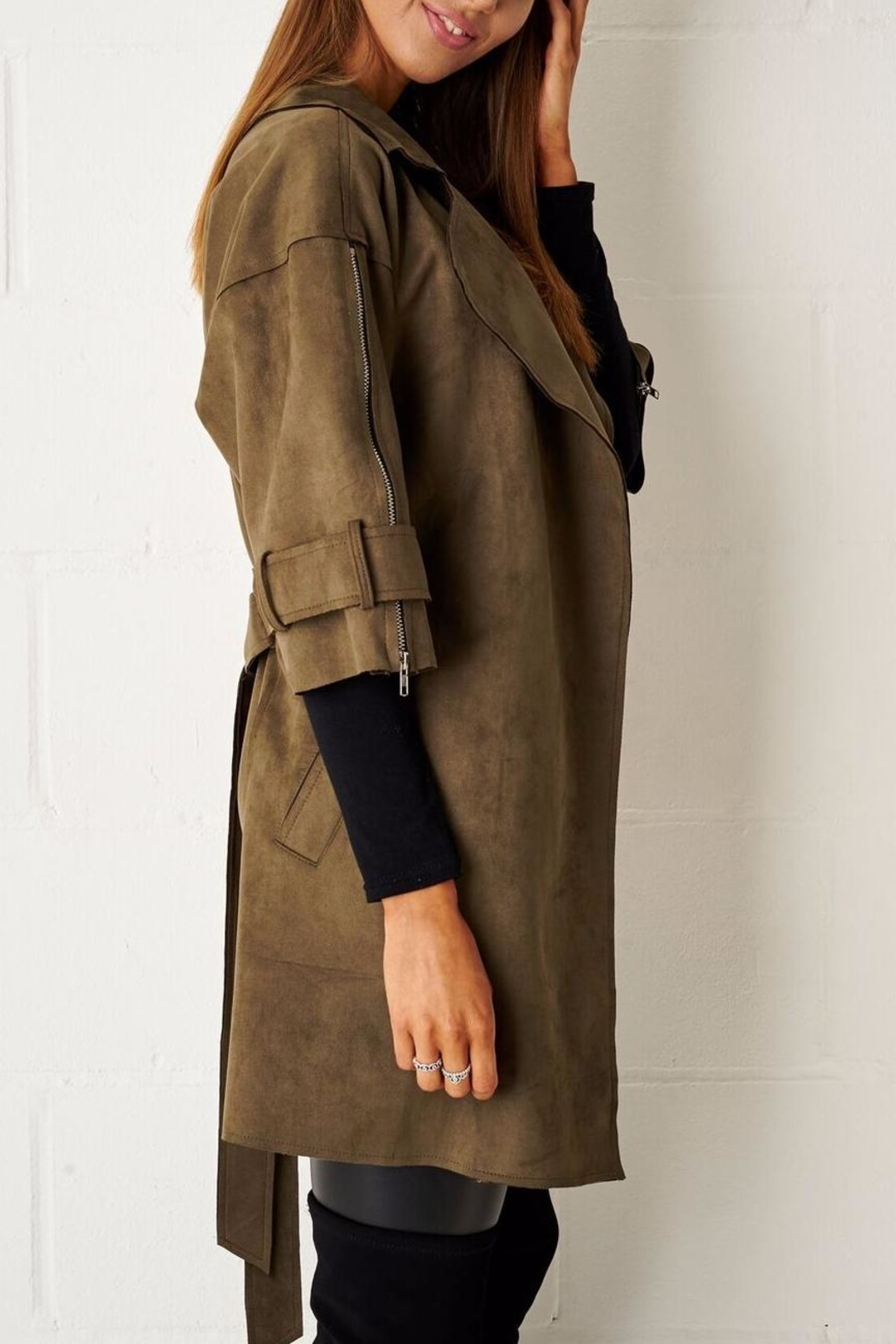 frontrow Suede Waterfall Coat - Front Full Image