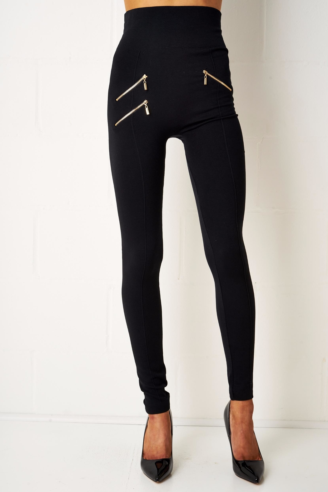 frontrow Thermal Zip Leggings - Front Cropped Image