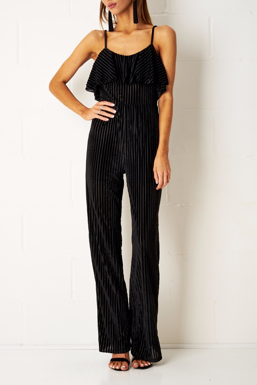 frontrow Velvet Frill Jumpsuit - Front Cropped Image