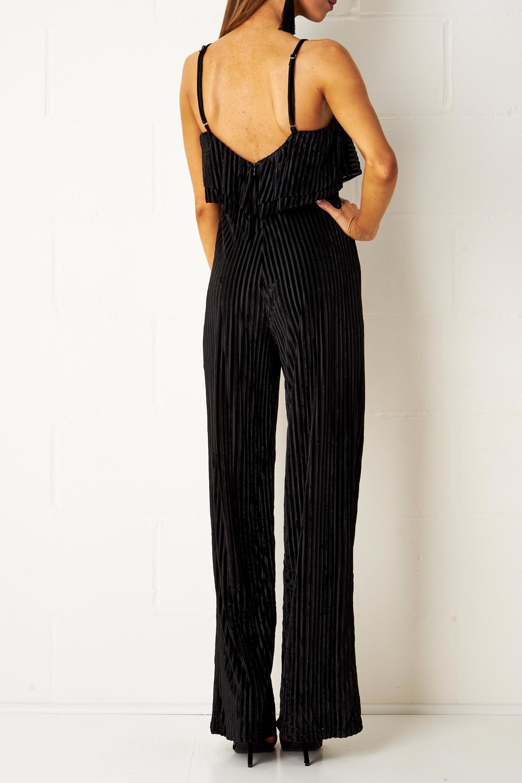frontrow Velvet Frill Jumpsuit - Side Cropped Image