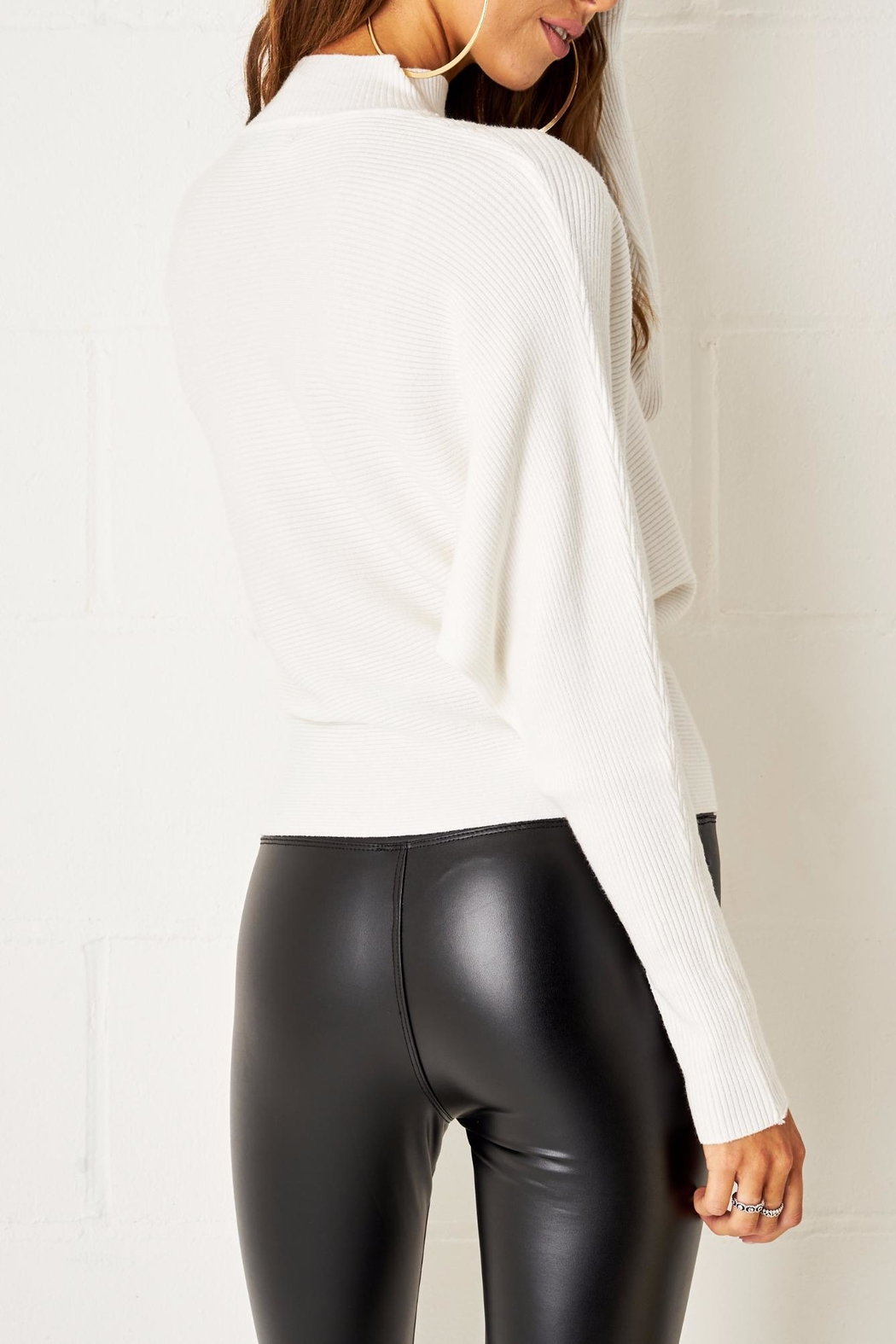 frontrow White Batwing Sweater - Side Cropped Image