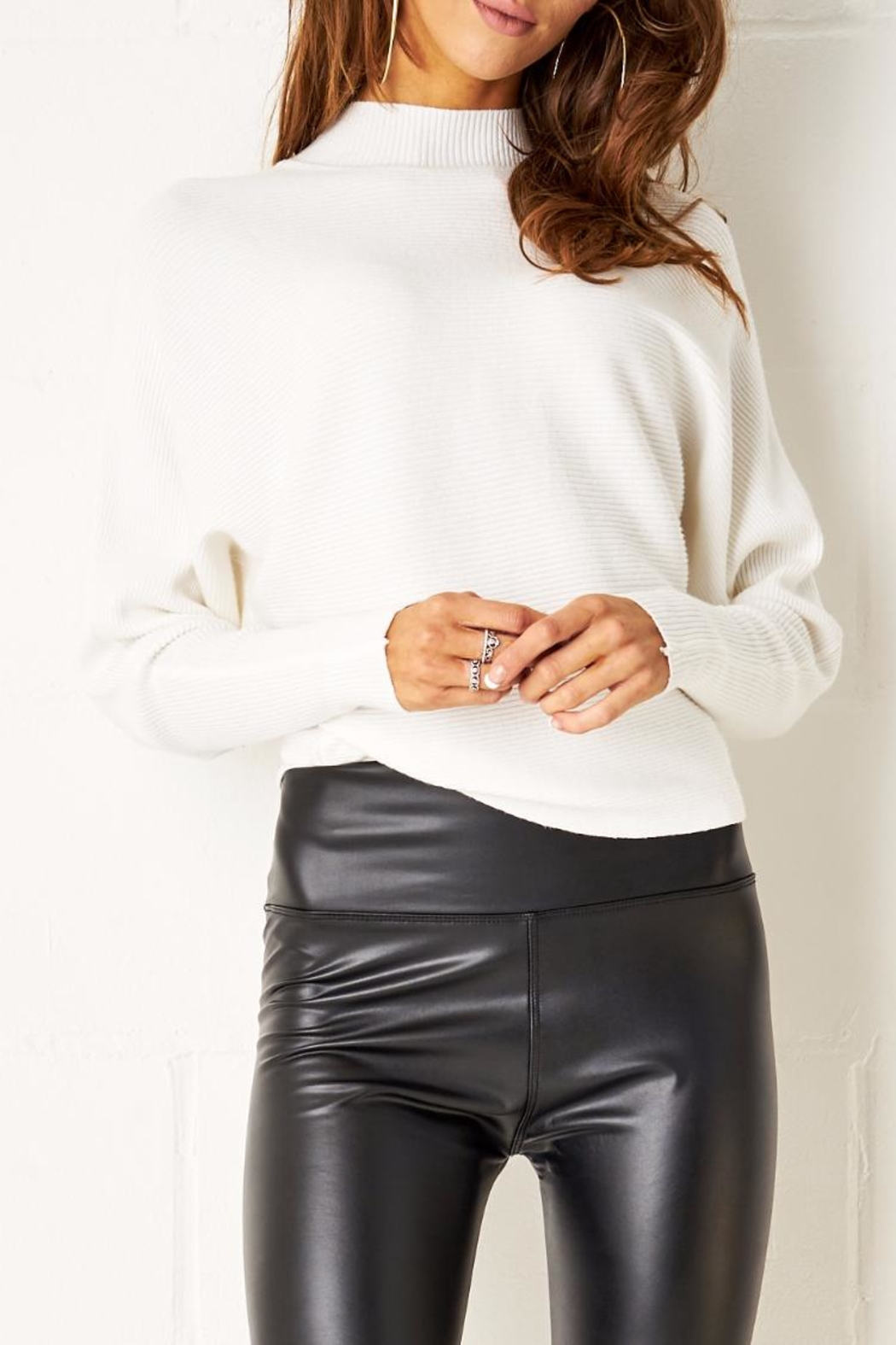 frontrow White Batwing Sweater - Main Image