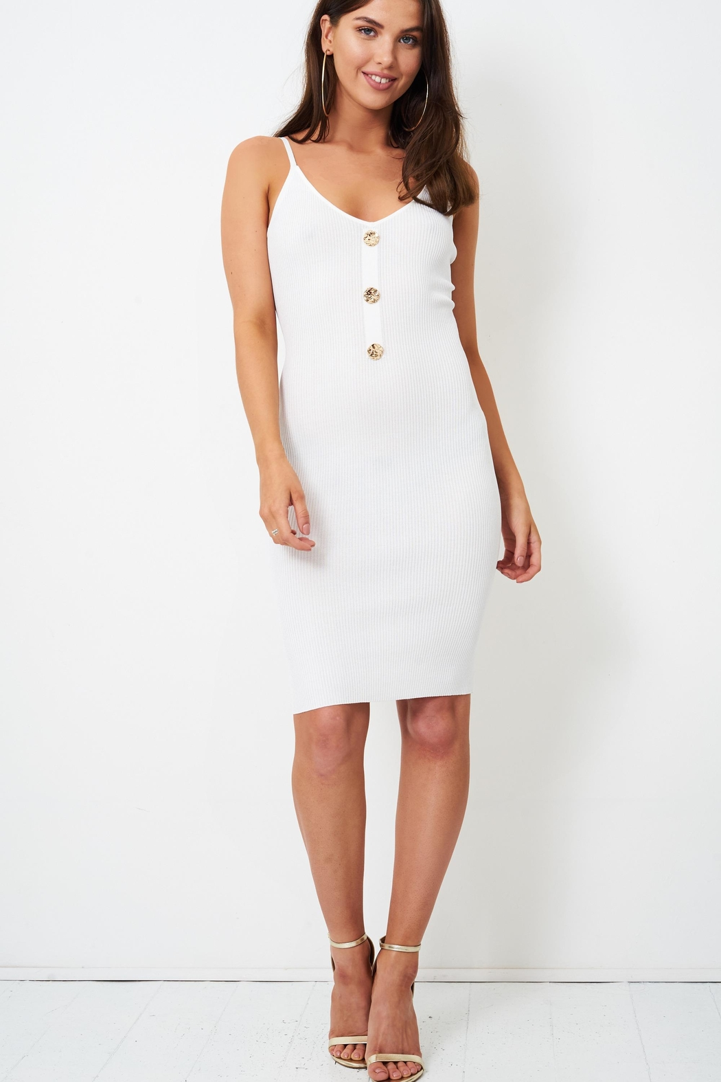 frontrow White Bodycon Dress - Side Cropped Image