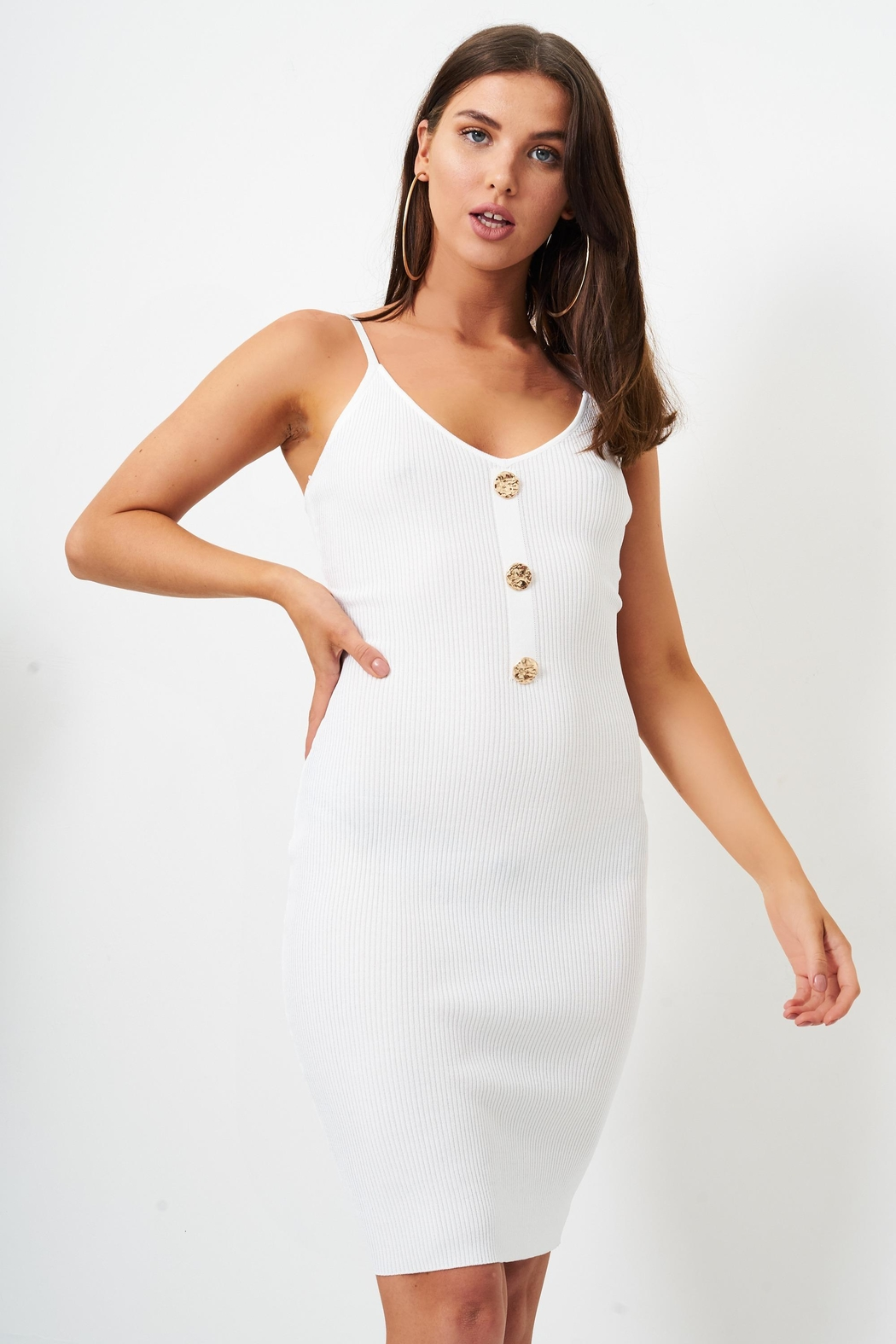 frontrow White Bodycon Dress - Front Full Image