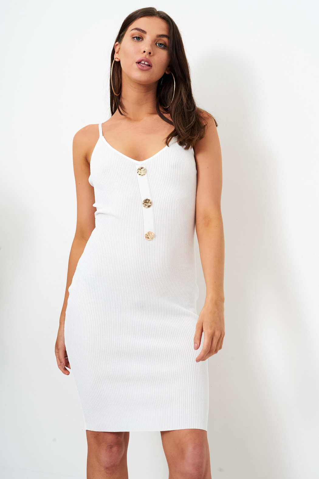 frontrow White Bodycon Dress - Front Cropped Image