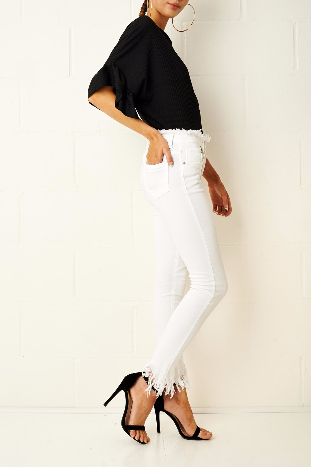 frontrow Anizia White Frayed Jeans - Front Full Image