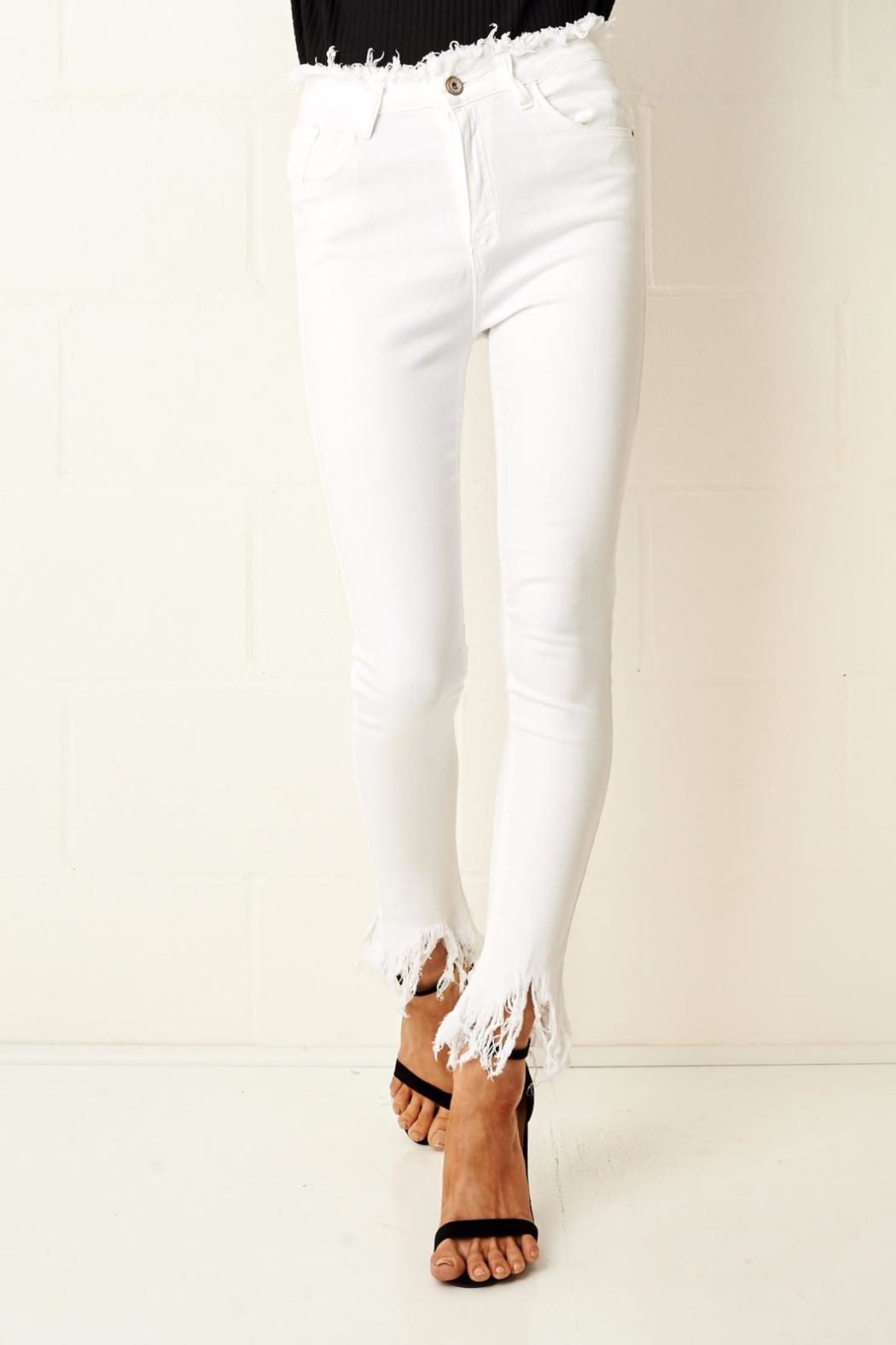 frontrow Anizia White Frayed Jeans - Front Cropped Image