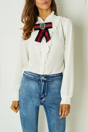 frontrow White Ribbon Blouse - Front cropped