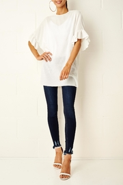frontrow White Ruffle Top - Front full body