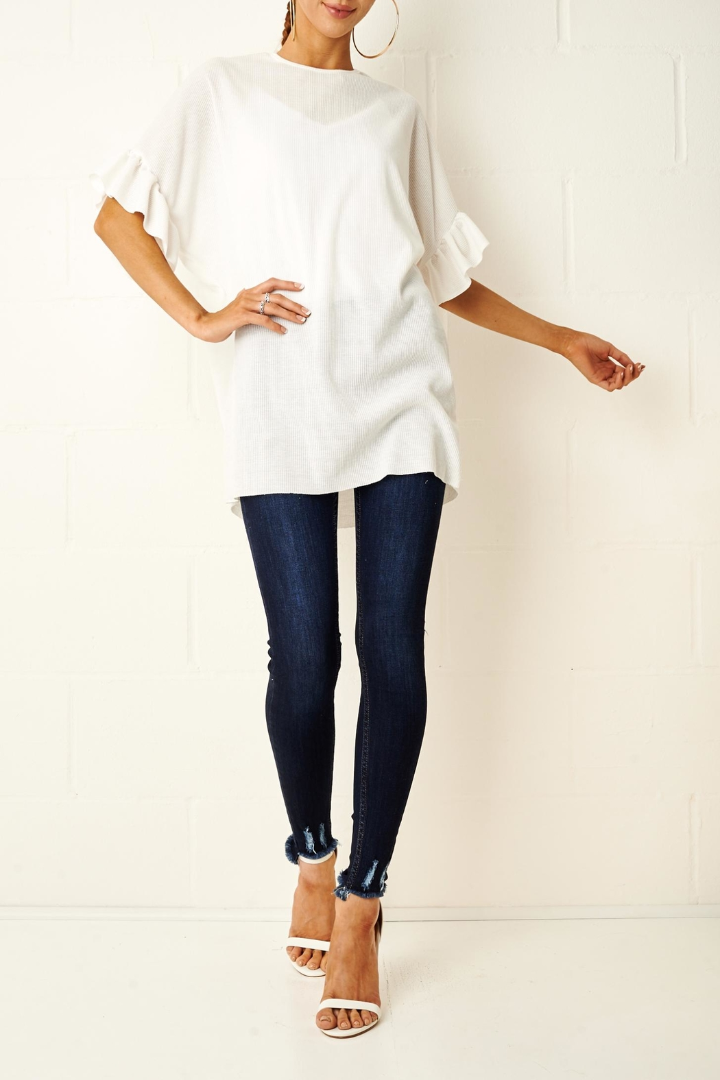 frontrow White Ruffle Top - Main Image