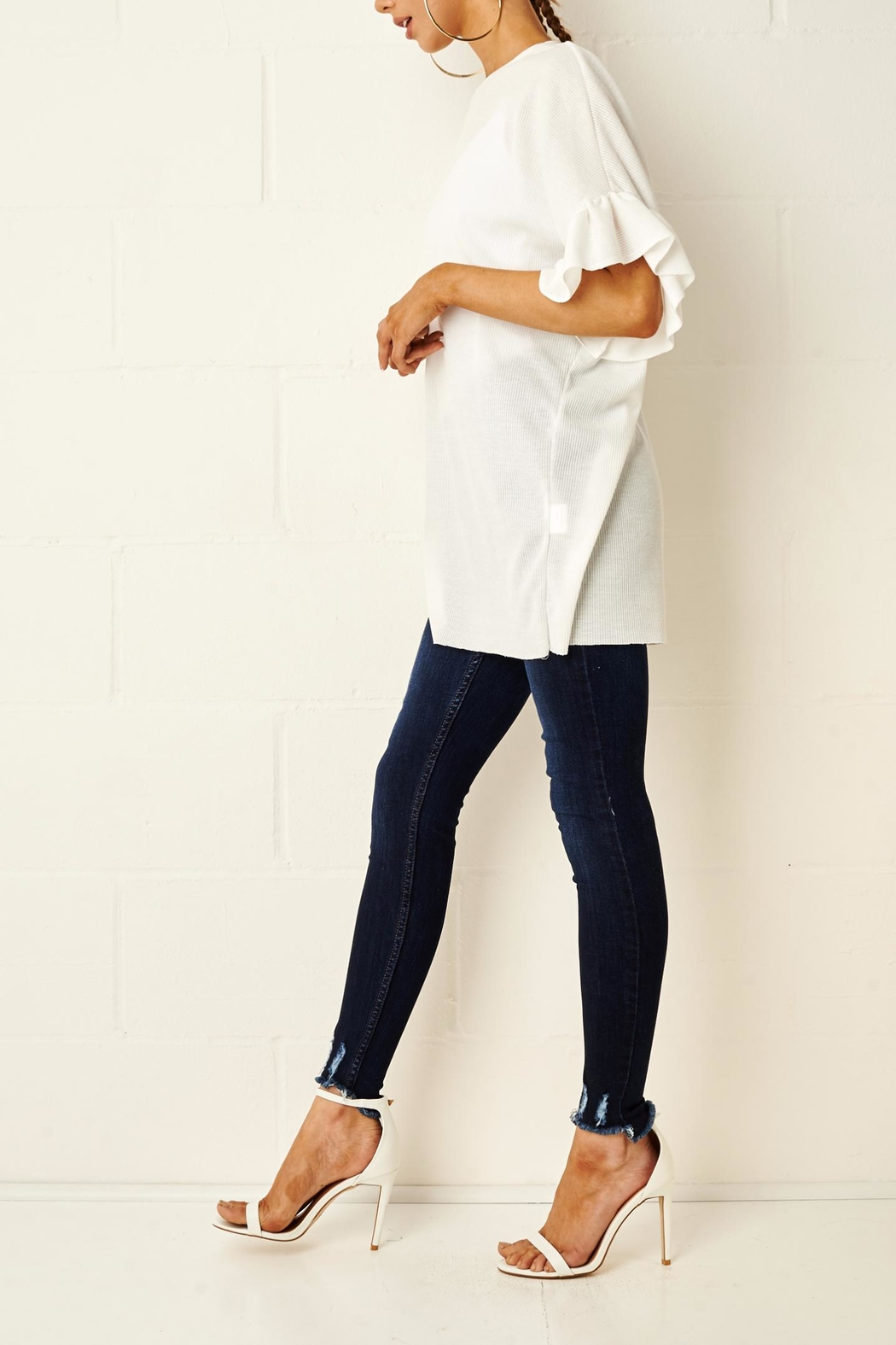 frontrow White Ruffle Top - Side Cropped Image