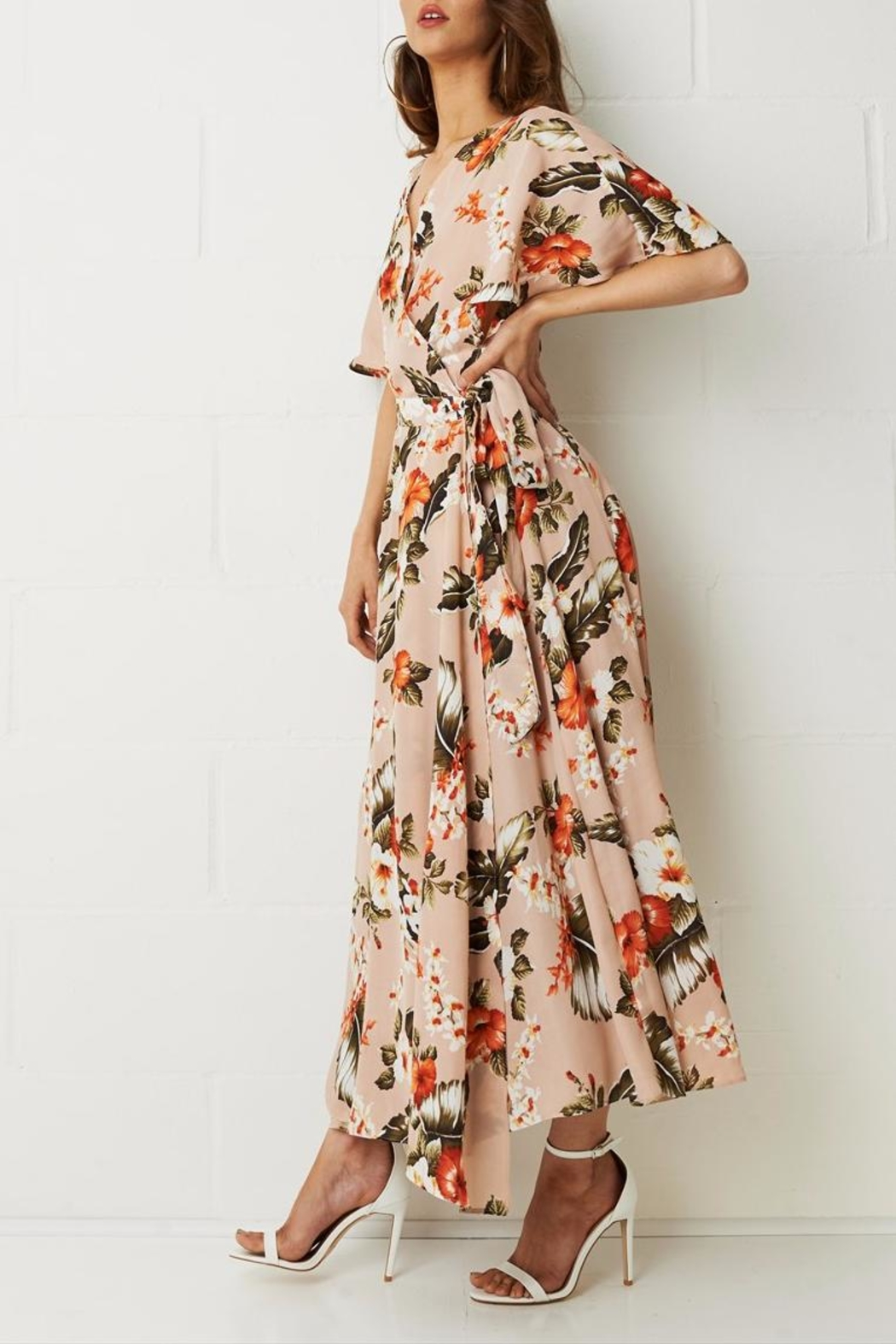 frontrow Wrap Floral Dress - Front Full Image