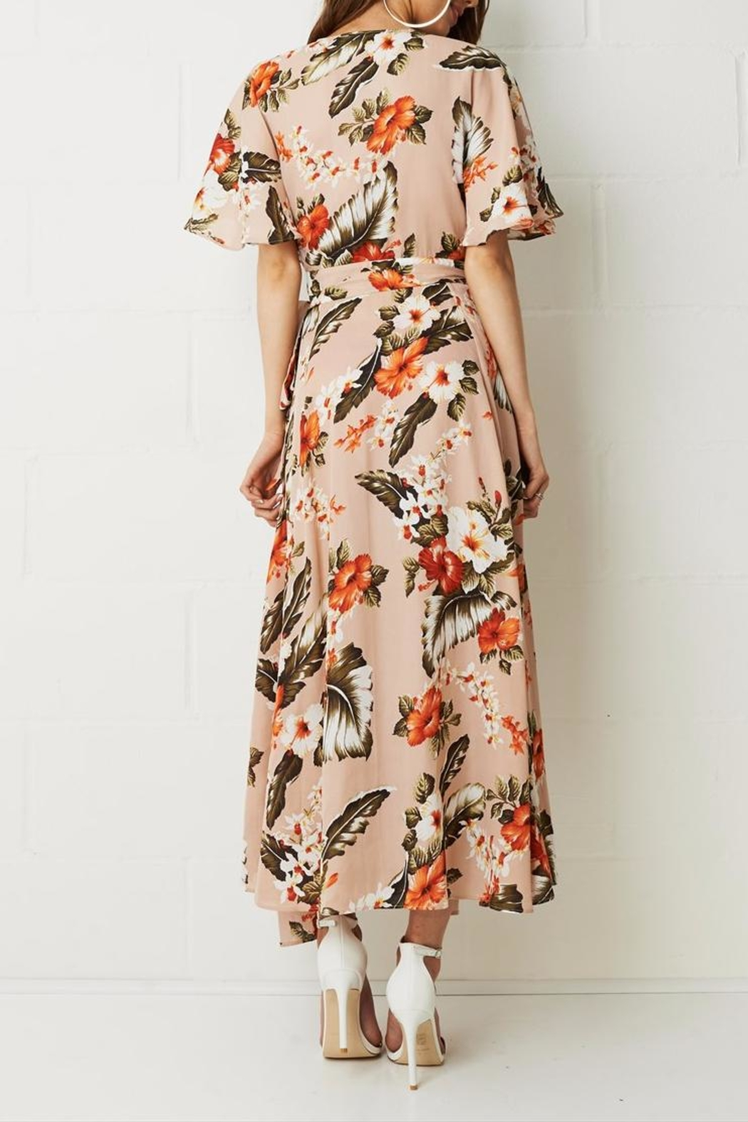 frontrow Wrap Floral Dress - Back Cropped Image