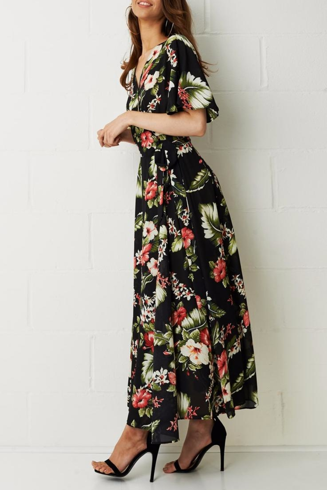 frontrow Wrap Floral Dress - Side Cropped Image