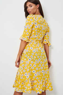 frontrow Yellow Floral Wrap Dress - Alternate List Image