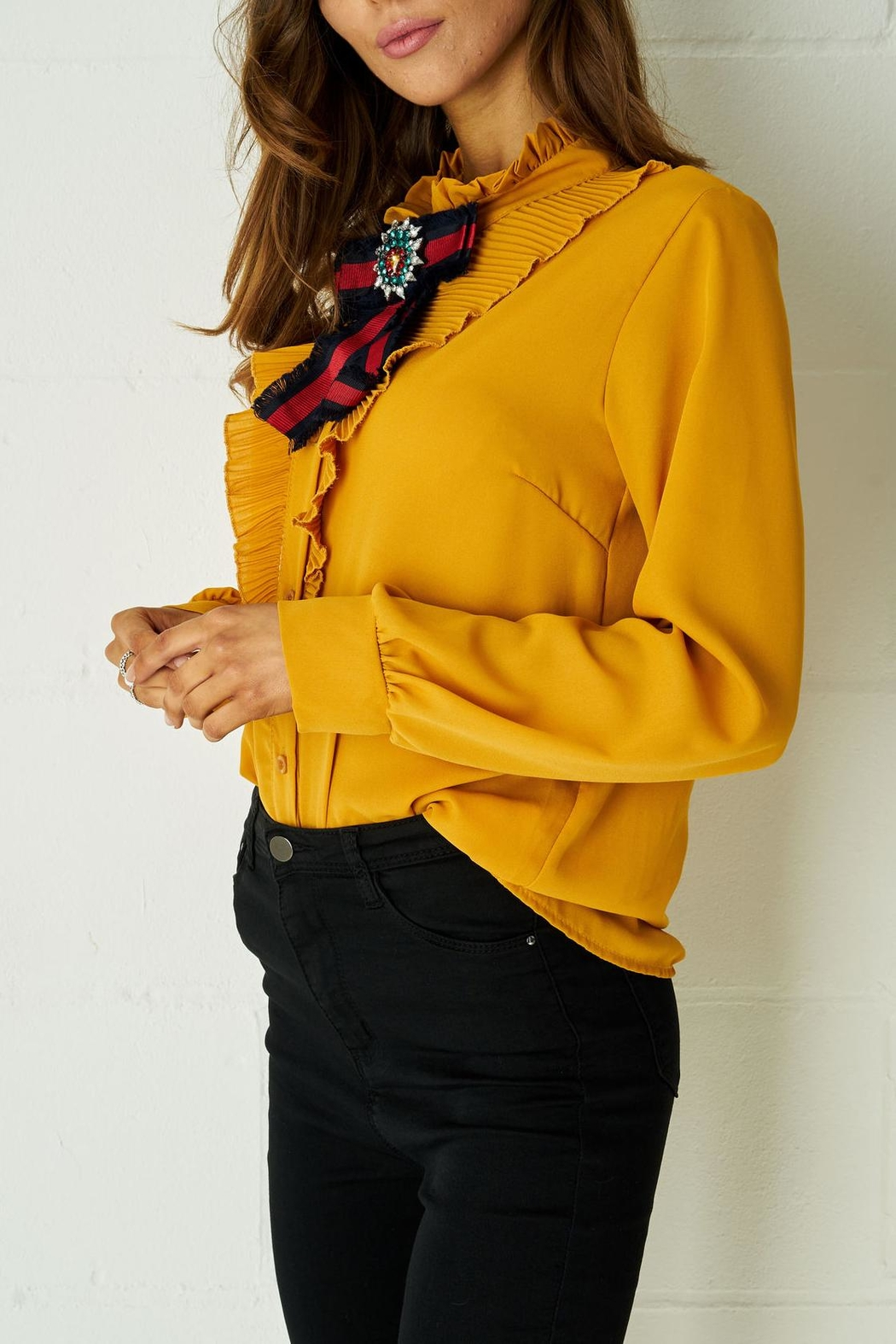 frontrow Yellow Ribbon Blouse - Front Cropped Image