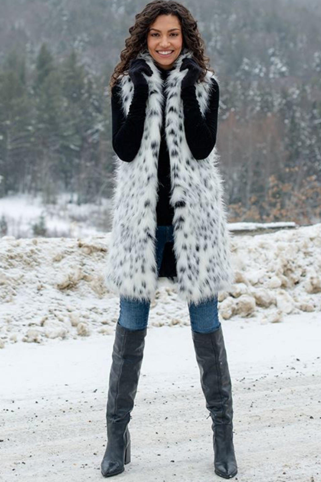 Fabulous Furs Frosted Leopard Stoller Vest - Side Cropped Image