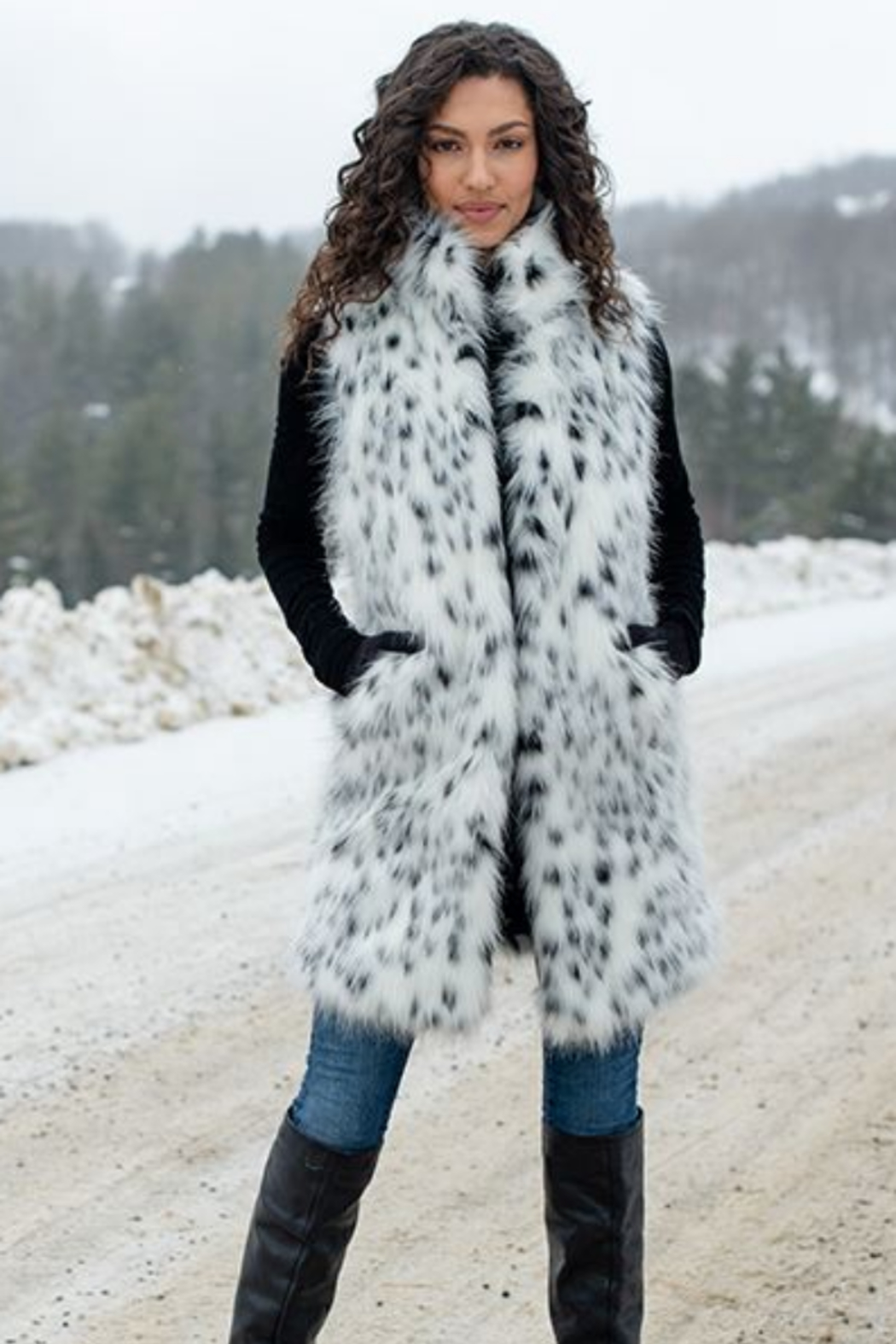 Fabulous Furs Frosted Leopard Stoller Vest - Front Full Image